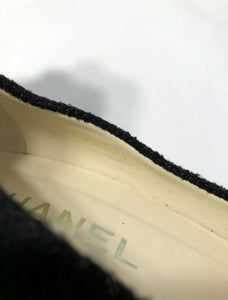Chanel 12C black wool interlocking CC crystal cork screw heels pumps US 7.5/8