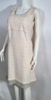 Chanel Vintage 04C Cruise Resort Ivory Pink Tweed Fringe Dress FR 42 US 6-8