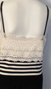 Chanel 05P, 2005 Spring Spaghetti Strap Camisole Lace Crochet Striped Top Blouse FR 38