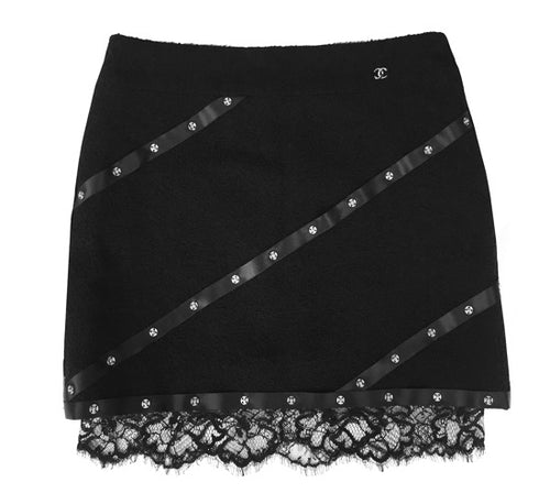 Chanel 03A snap collection black tweed Boucle lace mini skirt FR 38