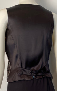 Chanel 03C Silk Charmeuse Vest with black sequins FR 38