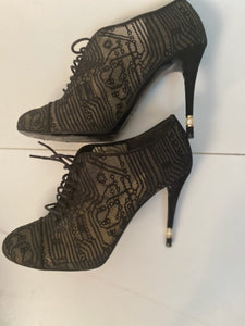 Chanel short boot bootie black lace mesh pearl high heels EU 41 US 10