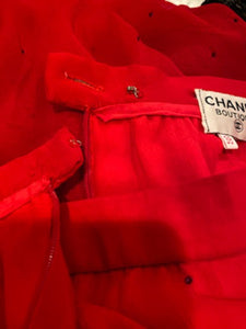 Vintage Chanel Red Chiffon Skirt FR 38 US 4