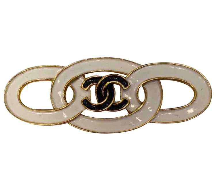 Chanel 93C Vintage white black gold CC ceramic enamel pin brooch