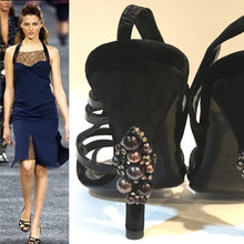 Load image into Gallery viewer, Chanel 04A 2004 Fall slingback Black Velvet and Patent Leather embellishments at heels EU 37.5 US 6.5/7