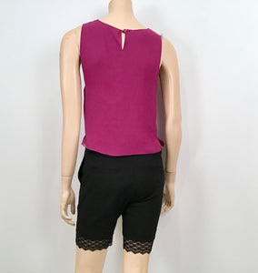 Chanel Silk Short Sleeve cropped Fuchsia Top Blouse US 4