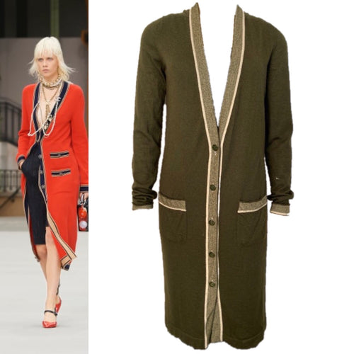 Chanel 2008 Cruise 08C Coco Line Long Cashmere Cardigan cardicoat duster FR 40