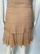 Load image into Gallery viewer, Chanel 2 piece beige silk chiffon pleated accordion dress set US 6