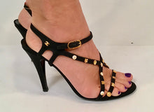 Load image into Gallery viewer, Chanel Charm Logo Black Grosgrain Strap Sandal Icon Heels EU 39.5 US 8.5/9