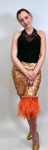 Chanel Vintage 06C Cruise Resort Gold Sequence Sequin Mini skirt FR 42 US 6/8