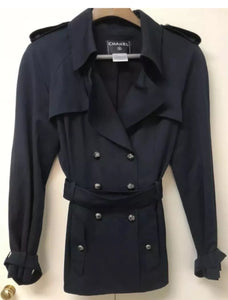 Chanel Vintage 08C Cruise Resort Navy Blue Belted Trench Coat Jacket FR 50 US 14/16