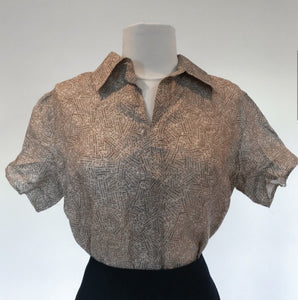 "Vintage Chanel 99P, 1999 Spring Logo Button down ""Rue Cambon"" Blouse Top FR 42 US 6/8"