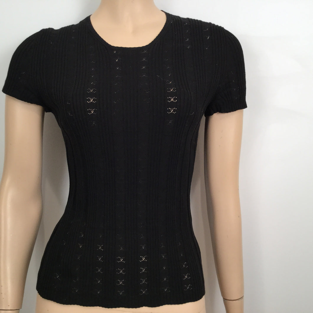 Chanel 03P Spring Black Cotton knit Blouse top FR 40 US 6