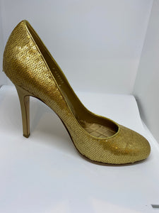 Chanel sequin gold stiletto heel pumps EU 39