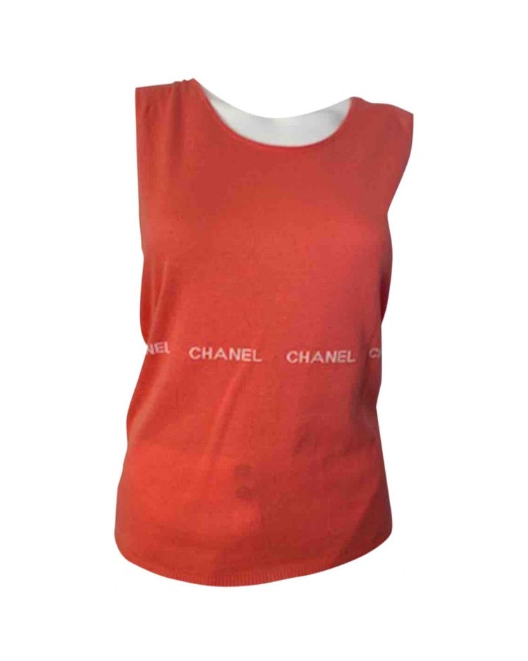 "Vintage Chanel 04P, 2004 Spring Peach/Salmon Sleeveless sweater w/ ""Chanel"
