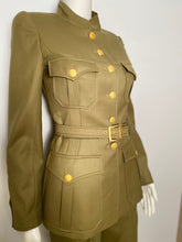 Load image into Gallery viewer, 96A, 1996 Fall Vintage Chanel Rare Military Olive Green Belted Jacket Pant Suit Set FR 36