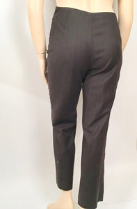 Preowned Chanel 01A Vintage Brown Pinstripe pant trouser wool cashmere US 10/12