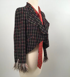 Chanel 11P, 2011 Spring Black Multicolor Tweed Ostrich Feather Trim Blazer Dress Cardigan Jacket FR 38 US 4/6