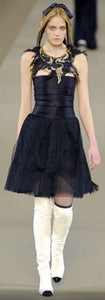 Chanel 06A, 2006 Fall Black Layer Lace Mini Tube Dress FR 38 US 4
