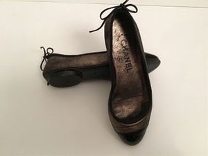 Chanel metallic black bronze gold Ballet Ballerina Flats Shoes EU 34.5 US 3.5/4