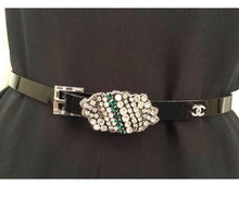 Load image into Gallery viewer, Chanel 2006 Fall 06A skinny  Black Patent  Leather waist Crystal Buckle Belt SZ 36