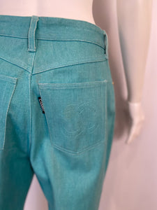 92P, 1992 Spring Chanel Green Denim 2 piece Jacket Pant Suit Oversized FR 34 US 4/6/8
