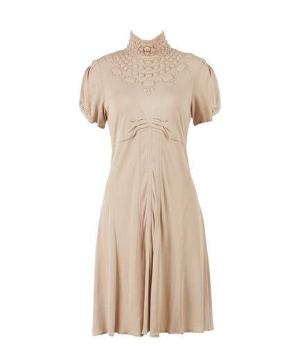 Chanel 07A Fall Autumn beige short sleeve blush beige dress FR 38 US 4