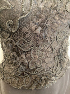 Vintage Chanel 95A, 1995 Fall Embroidered Lace Halter Evening Top Blouse US 4
