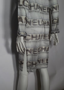 Vintage Chanel 05P, 2005 Spring Cotton Tunic Swim Cover Up Logo Dress FR 38 US 4/6