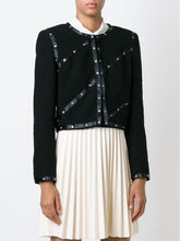 Load image into Gallery viewer, Chanel 2003 Fall 03A Snap Collection black Cropped Boucle Tweed Jacket FR 42 US 4/6/8