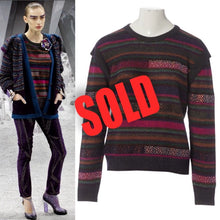 Load image into Gallery viewer, Chanel 12A RTW striped multicolor beaded Strass wool oversized pullover jumper sweater FR 38