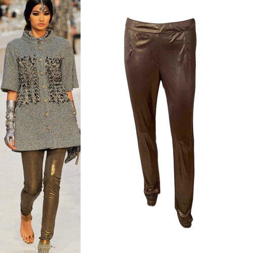 Chanel 12A, 2012 Paris Bombay Fall Stretchy Gold Metallic Pants Leggings FR 38 US 4/6
