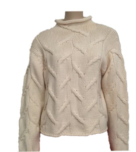 Vintage Chanel 99A, 1999 Fall winter white Ivory Ecru Cable Knit Wool Sweater FR 40 US 6/8