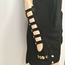 Load image into Gallery viewer, Rare! Chanel Long Fingerless Black Suede leather 08 Gold CC Logos Caged Gloves Sz 7.5