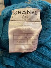 Load image into Gallery viewer, Chanel 07A Short Sleeve Turquoise Pullover Turtleneck Sweater Top Blouse FR 40 US 6/8