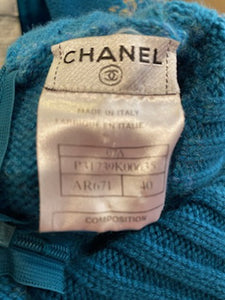 Chanel 07A Short Sleeve Turquoise Pullover Turtleneck Sweater Top Blouse FR 40 US 6/8