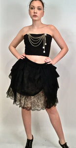 Chanel 10P, 2010 Spring Black Tulle Layered Lace Skirt FR 42 US 4/6