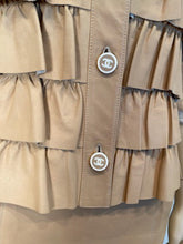 Load image into Gallery viewer, Vintage Chanel 01A, 2001 Fall Ruffle Beige Tan Leather Skirt Vest Dress Suit Set FR 36 US 4/6