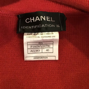 Chanel Identification 00A Fall Autumn Vintage Orange Red Zipper Turtleneck Cashmere Sweater Top FR 40 US 4