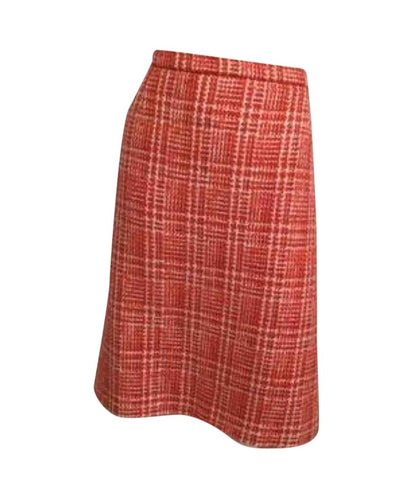97P, 1997 Spring Vintage Chanel Boutique Orange Tweed Plaid Wool Skirt US 10