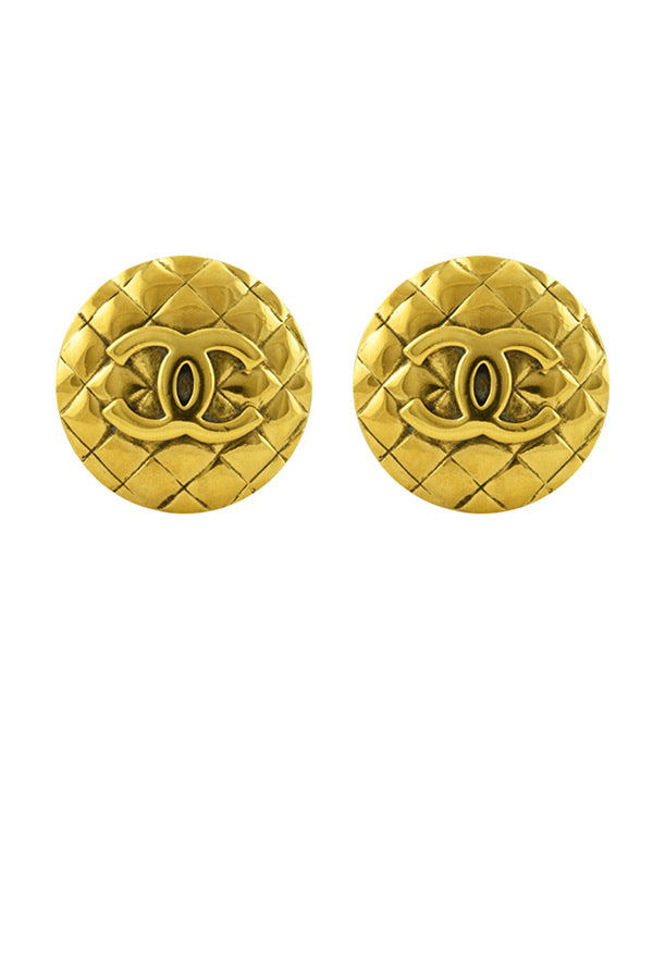 Chanel vintage quilted clip on CC gold plated metal round oversized earrings