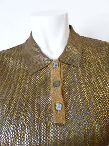 Vintage Chanel 01C Cruise Resort Sleeveless Gold Metallic Collar Polo Top Blouse FR 34 US 2/4