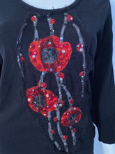 Load image into Gallery viewer, Chanel 07A Black Red Cashmere Pullover Sweater  with appliqué geometric flowers with sequins, pearls FR 40