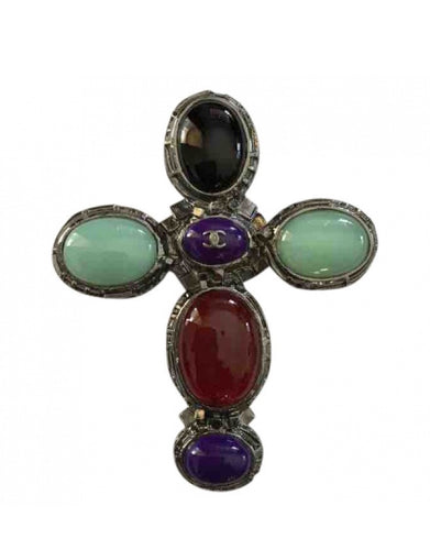 Chanel vintage 03A Gripoix multicolor Glass Stone Oversized Cross Brooch Pin