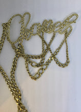 "Load image into Gallery viewer, Rare vintage Chanel cursive letters multi strand silver tone belt necklace 38"" long 06C Cruise Resort"