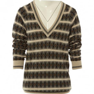 Chanel 07A striped beaded Cashmere Tunic Sweater Jumper FR 34