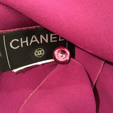 Load image into Gallery viewer, Chanel Silk Short Sleeve cropped Fuchsia Top Blouse US 4