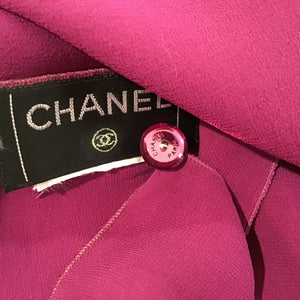 Preowned Chanel Silk Short Sleeve cropped Fuchsia Top Blouse US 4