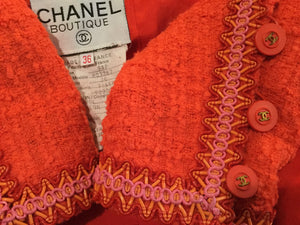 Extremely Rare! Vintage Chanel 94P, 1994 Spring Orange Tweed Scobido Trim Boucle  Jacket FR 36 US 4