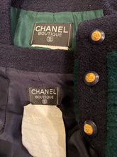 Load image into Gallery viewer, 93A, 1993 Fall Rare Vintage Chanel Boucle green Navy Blue skirt suit set US 10